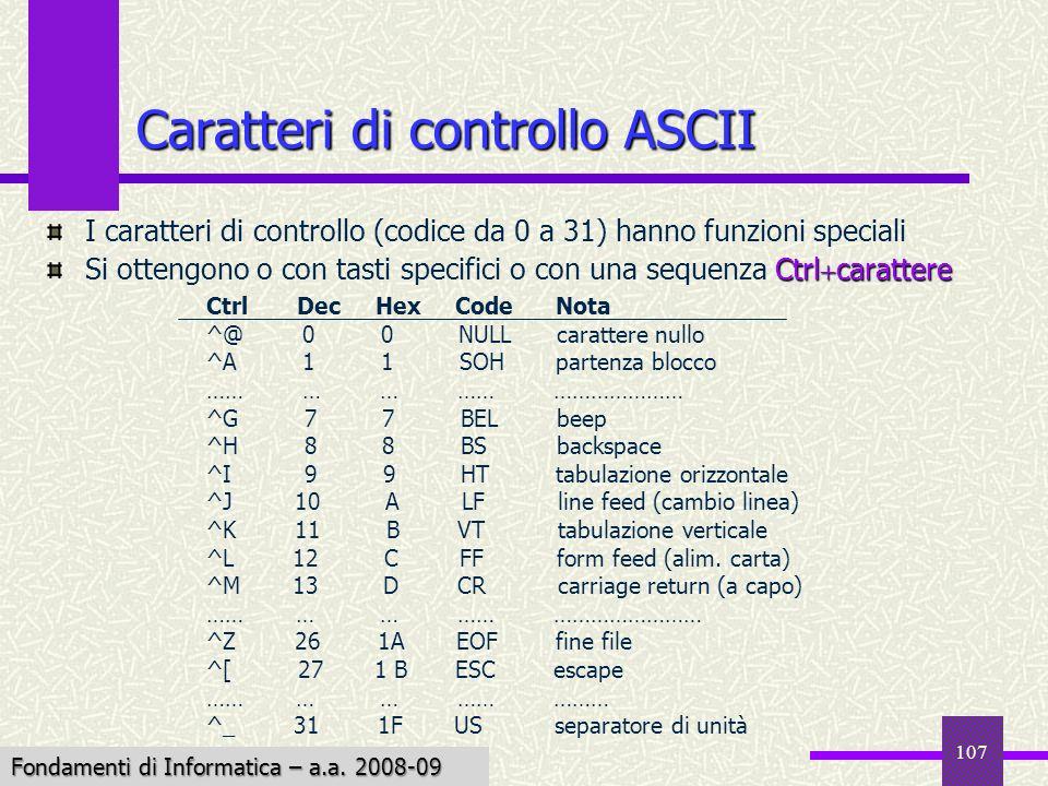 Fondamenti di Informatica I a.a. 2007-08 107 Caratteri di controllo ASCII I caratteri di controllo (codice da 0 a 31) hanno funzioni speciali Ctrl car