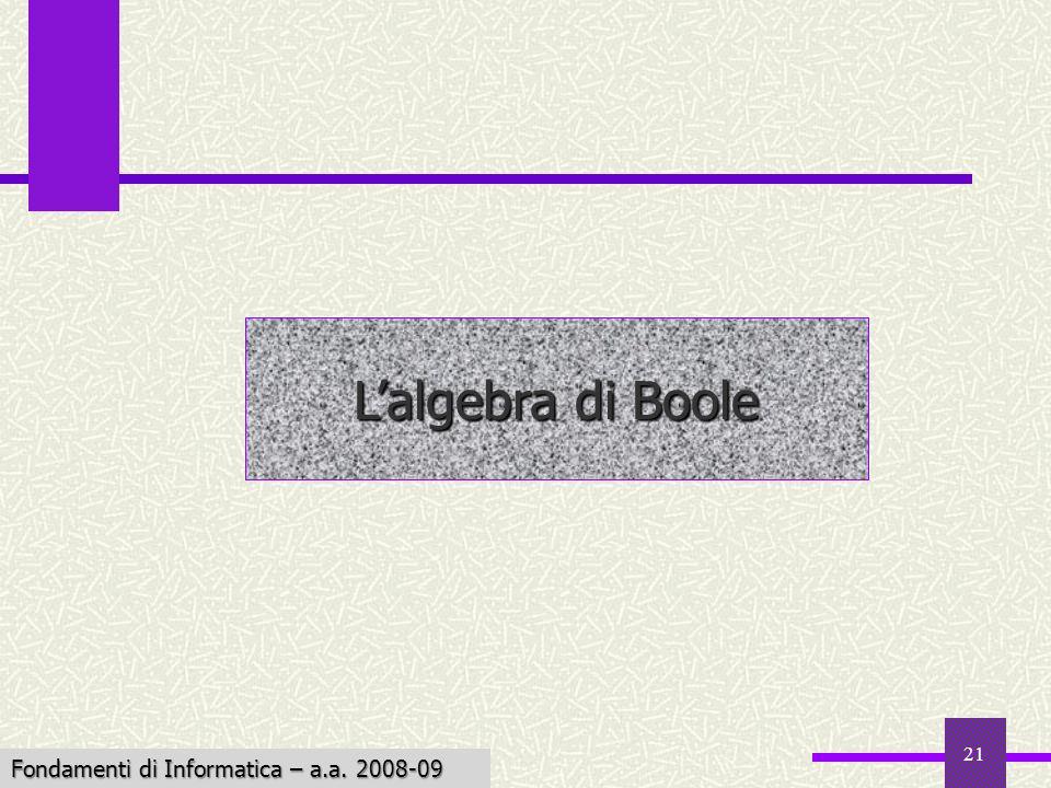 Fondamenti di Informatica I a.a. 2007-08 21 Lalgebra di Boole Fondamenti di Informatica – a.a. 2008-09