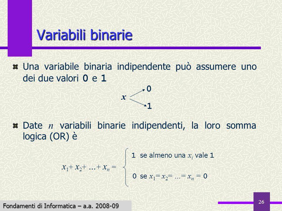 Fondamenti di Informatica I a.a. 2007-08 26 Variabili binarie Una variabile binaria indipendente può assumere uno dei due valori 0 e 1 Date n variabil
