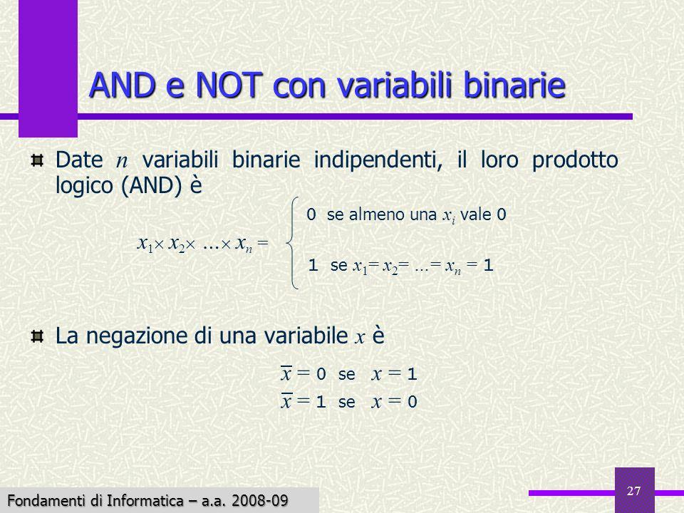 Fondamenti di Informatica I a.a. 2007-08 27 AND e NOT con variabili binarie x 1 x 2 … x n = 0 se almeno una x i vale 0 1 se x 1 = x 2 = …= x n = 1 Dat