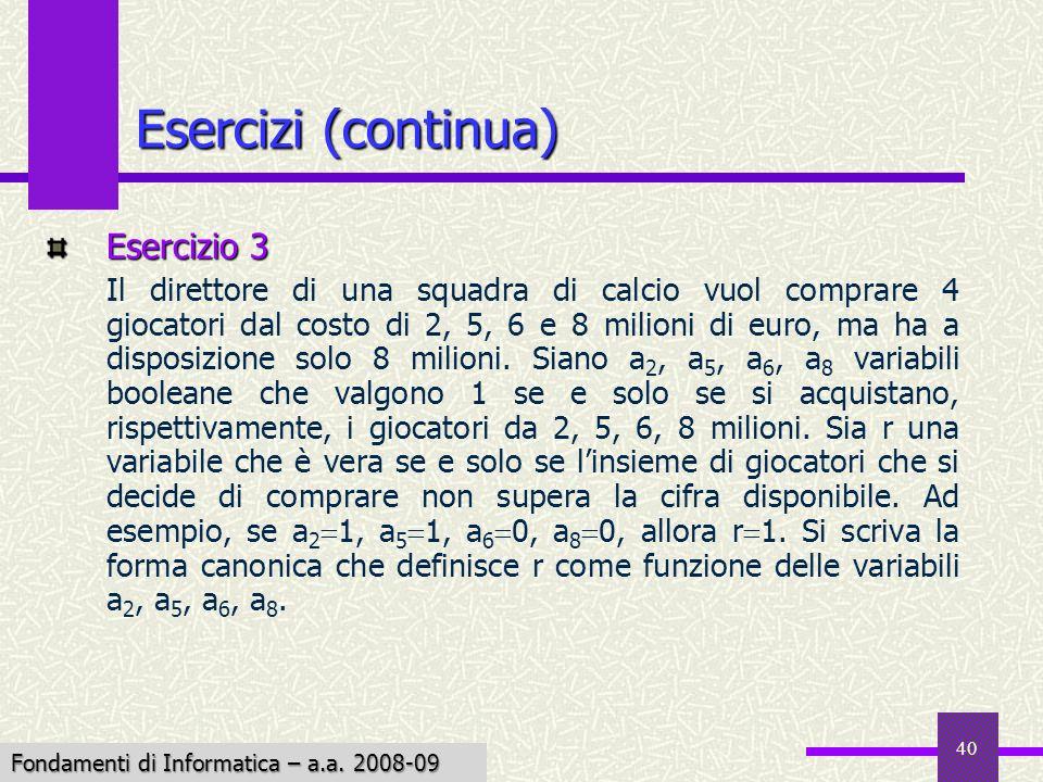 Fondamenti di Informatica I a.a. 2007-08 40 Esercizi (continua) Esercizio 3 Il direttore di una squadra di calcio vuol comprare 4 giocatori dal costo