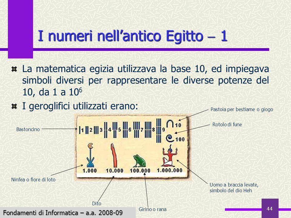 Fondamenti di Informatica I a.a. 2007-08 44 I numeri nellantico Egitto 1 La matematica egizia utilizzava la base 10, ed impiegava simboli diversi per