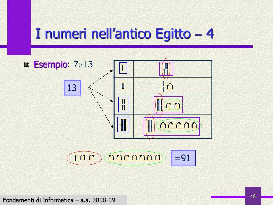 Fondamenti di Informatica I a.a. 2007-08 48 I numeri nellantico Egitto 4 Esempio Esempio: 7 13 13 =91 Fondamenti di Informatica – a.a. 2008-09