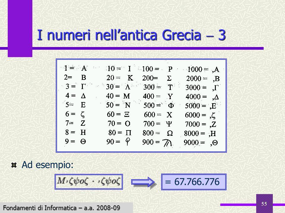Fondamenti di Informatica I a.a. 2007-08 55 I numeri nellantica Grecia 3 Ad esempio: = 67.766.776 Fondamenti di Informatica – a.a. 2008-09