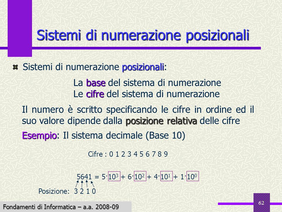 Fondamenti di Informatica I a.a. 2007-08 62 Sistemi di numerazione posizionali posizionali Sistemi di numerazione posizionali: base La base del sistem