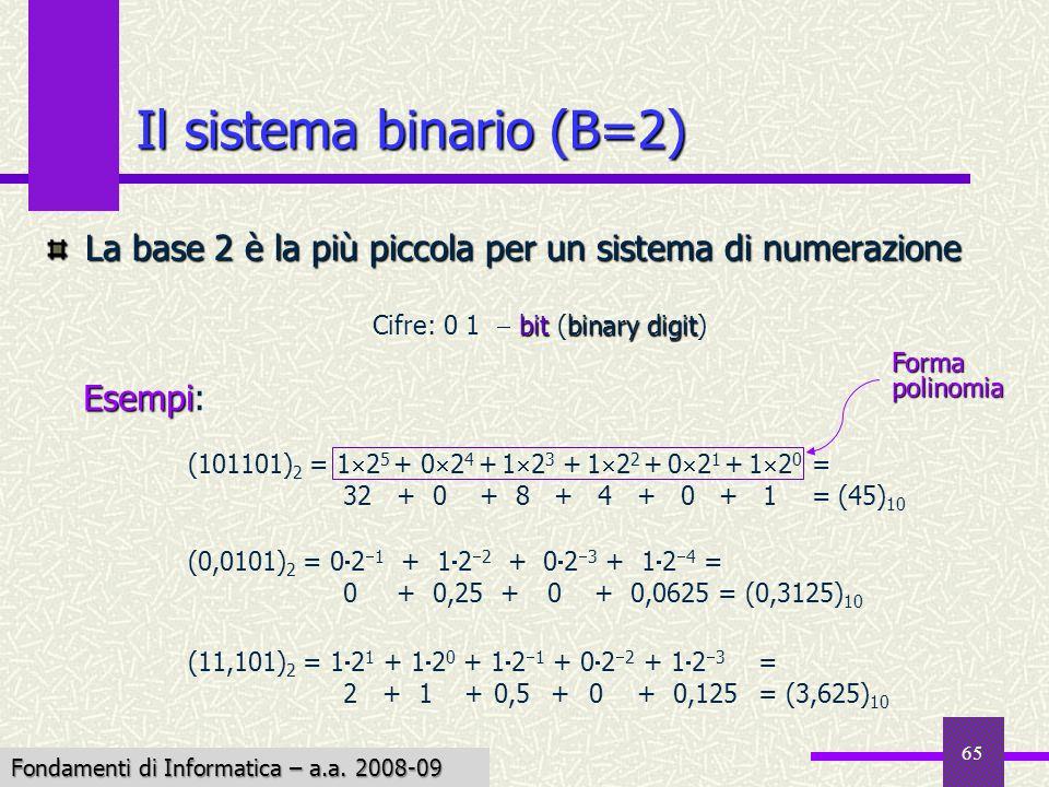Fondamenti di Informatica I a.a. 2007-08 65 Il sistema binario (B=2) La base 2 è la più piccola per un sistema di numerazione bitbinary digit Cifre: 0