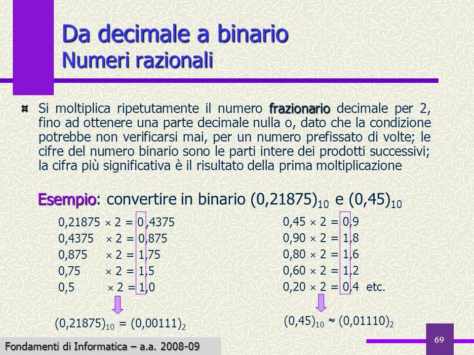 Fondamenti di Informatica I a.a. 2007-08 69 frazionario Si moltiplica ripetutamente il numero frazionario decimale per 2, fino ad ottenere una parte d