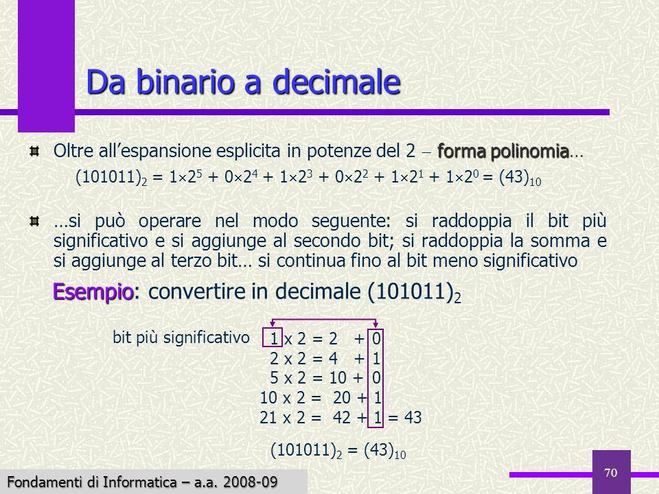 Fondamenti di Informatica I a.a. 2007-08 70 Da binario a decimale forma polinomia Oltre allespansione esplicita in potenze del 2 forma polinomia… …si