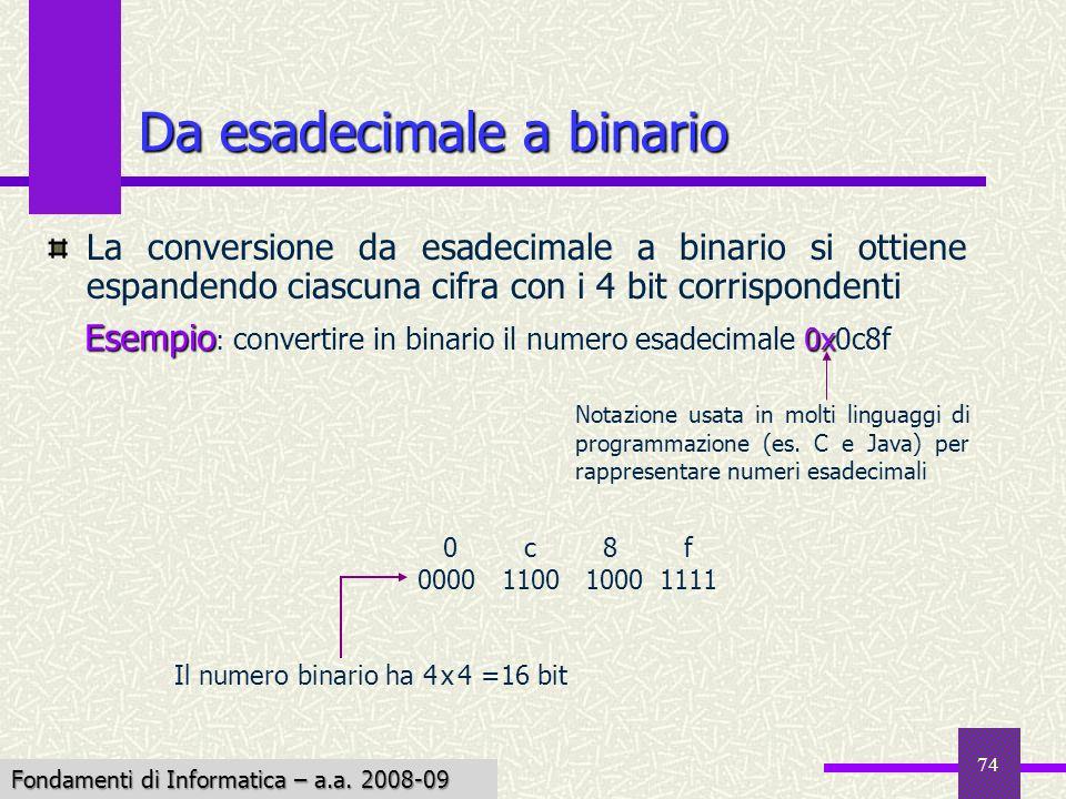 Fondamenti di Informatica I a.a. 2007-08 74 Da esadecimale a binario La conversione da esadecimale a binario si ottiene espandendo ciascuna cifra con
