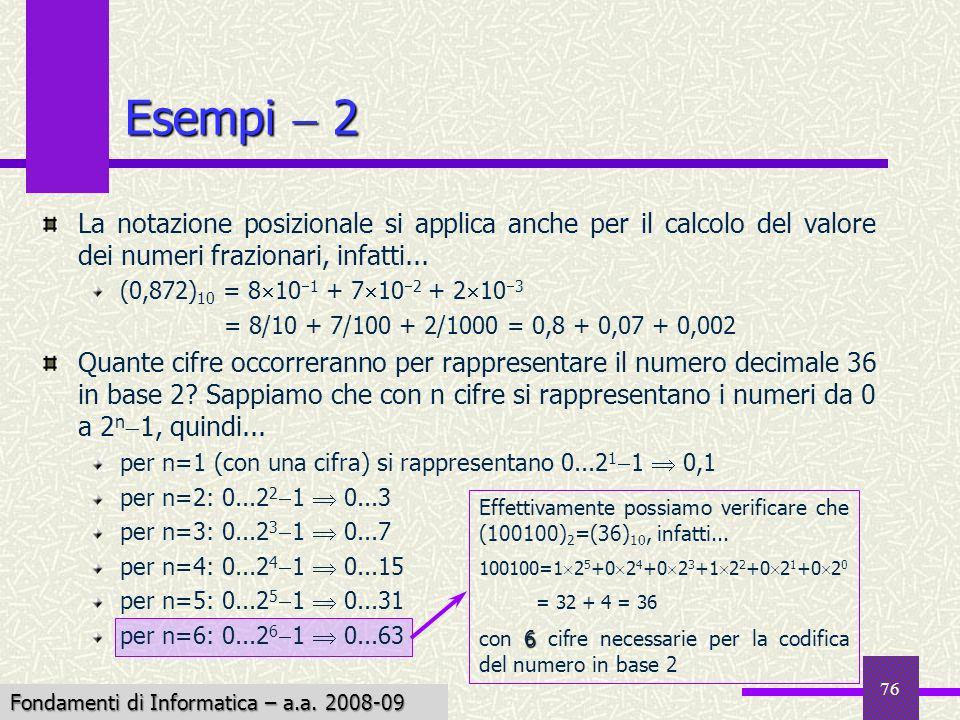 Fondamenti di Informatica I a.a. 2007-08 76 Esempi 2 La notazione posizionale si applica anche per il calcolo del valore dei numeri frazionari, infatt