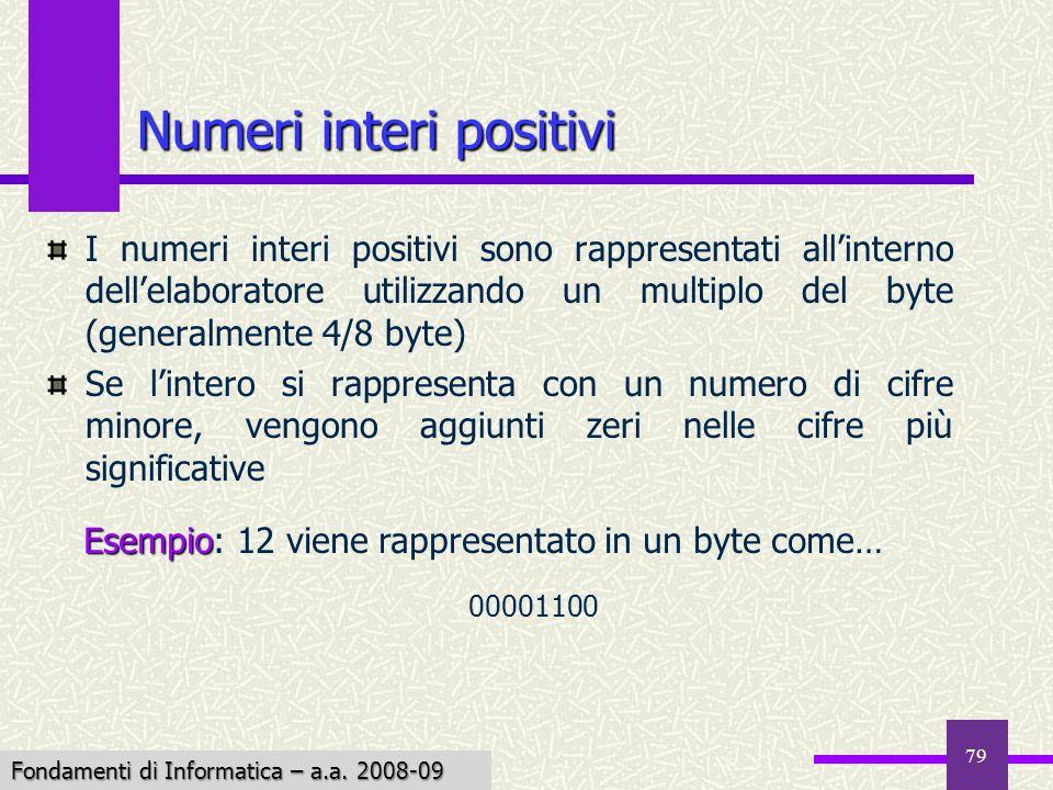 Fondamenti di Informatica I a.a. 2007-08 79 Numeri interi positivi I numeri interi positivi sono rappresentati allinterno dellelaboratore utilizzando