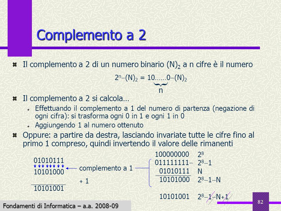 Fondamenti di Informatica I a.a. 2007-08 82 Complemento a 2 Il complemento a 2 di un numero binario (N) 2 a n cifre è il numero Il complemento a 2 si
