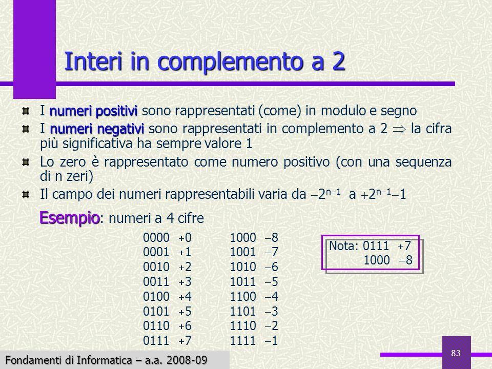 Fondamenti di Informatica I a.a. 2007-08 83 Interi in complemento a 2 numeri positivi I numeri positivi sono rappresentati (come) in modulo e segno nu