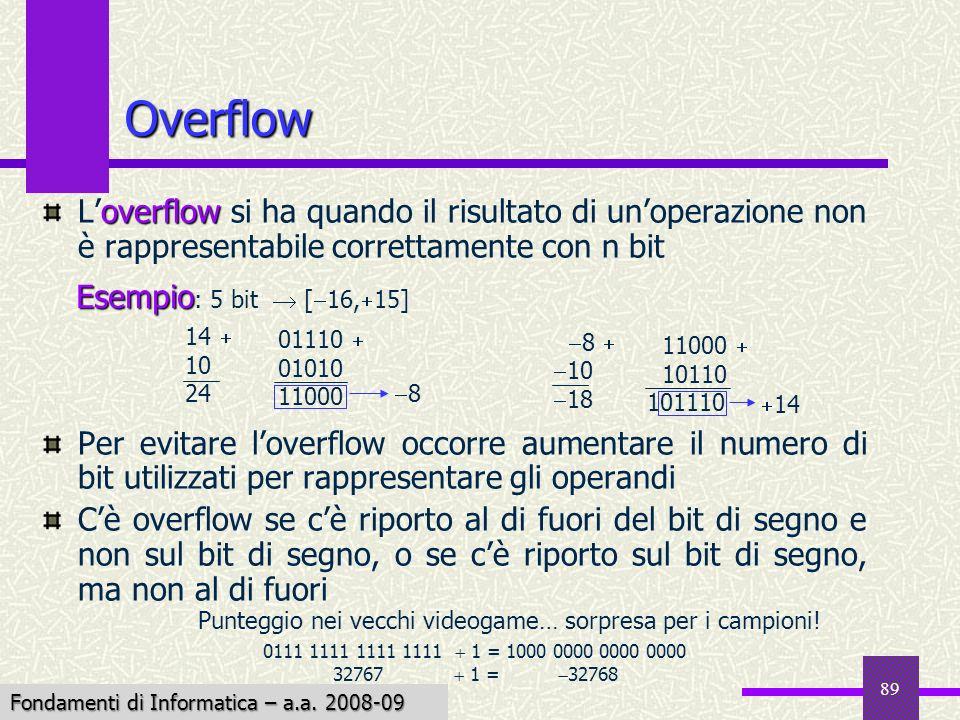 Fondamenti di Informatica I a.a. 2007-08 89 Overflow overflow Loverflow si ha quando il risultato di unoperazione non è rappresentabile correttamente