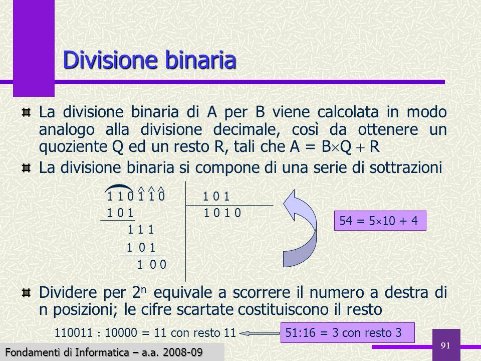 Fondamenti di Informatica I a.a. 2007-08 91 La divisione binaria di A per B viene calcolata in modo analogo alla divisione decimale, così da ottenere
