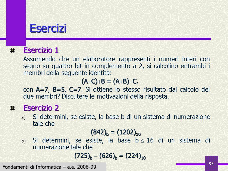 Fondamenti di Informatica I a.a. 2007-08 93 Esercizi Esercizio 1 Assumendo che un elaboratore rappresenti i numeri interi con segno su quattro bit in