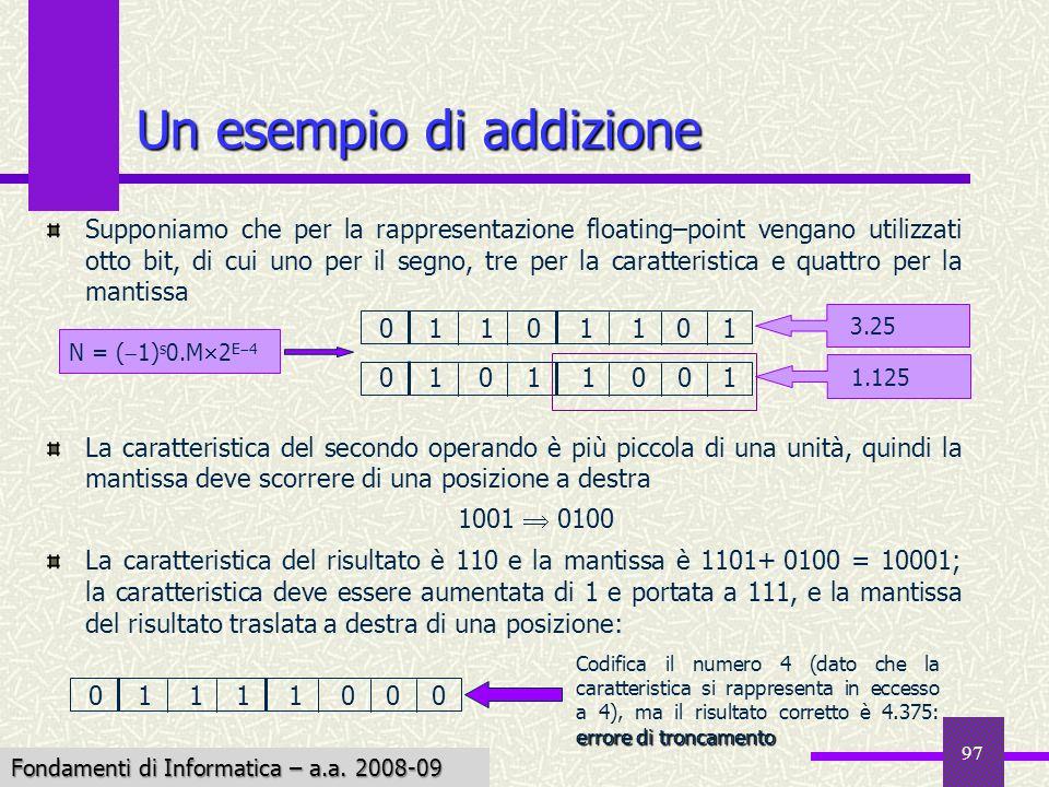 Fondamenti di Informatica I a.a. 2007-08 97 Supponiamo che per la rappresentazione floating–point vengano utilizzati otto bit, di cui uno per il segno