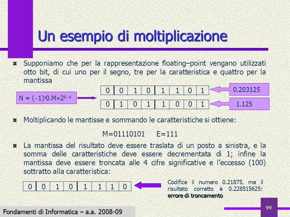 Fondamenti di Informatica I a.a. 2007-08 99 Supponiamo che per la rappresentazione floating–point vengano utilizzati otto bit, di cui uno per il segno
