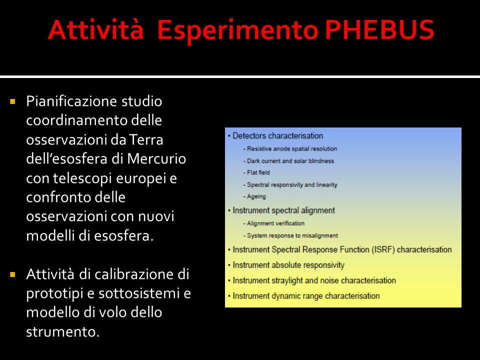 Pianificazione studio coordinamento delle osservazioni da Terra dellesosfera di Mercurio con telescopi europei e confronto delle osservazioni con nuov