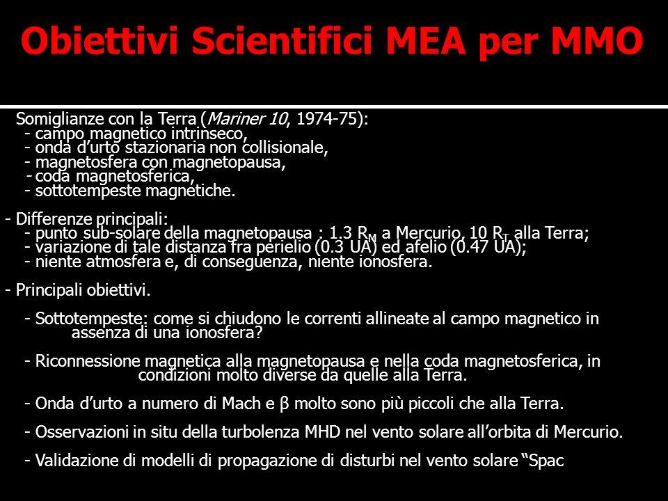 Dati Tecnici di MEA MMO incontrerà plasmi con caratteristiche molto diverse nel corso della missione.