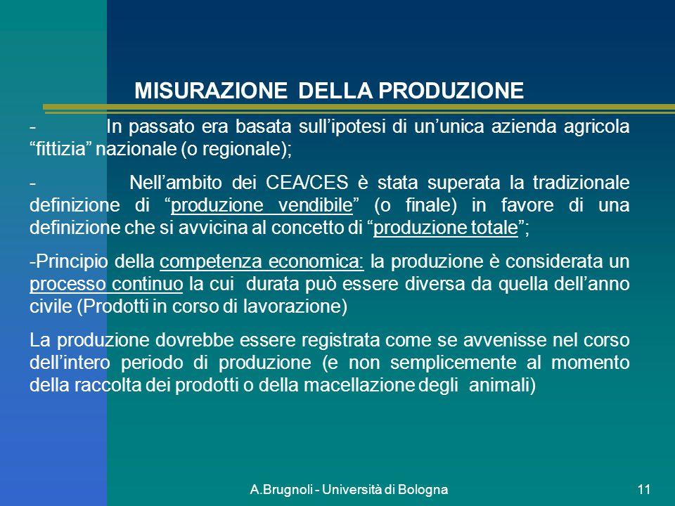 A.Brugnoli - Università di Bologna11 MISURAZIONE DELLA PRODUZIONE - In passato era basata sullipotesi di ununica azienda agricola fittizia nazionale (
