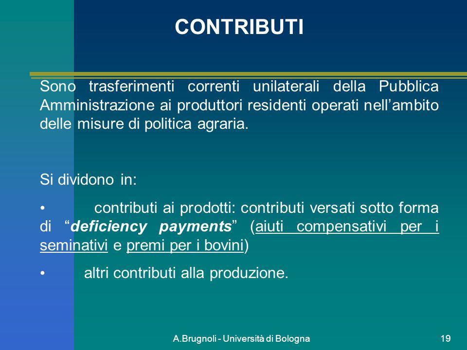 A.Brugnoli - Università di Bologna19 CONTRIBUTI Sono trasferimenti correnti unilaterali della Pubblica Amministrazione ai produttori residenti operati