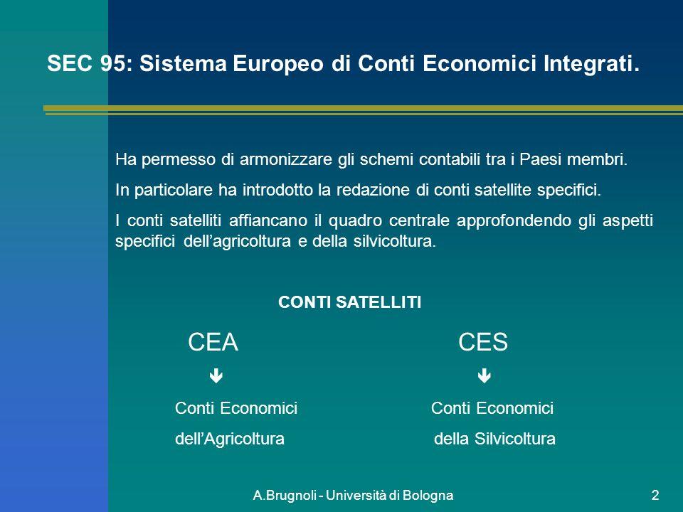 A.Brugnoli - Università di Bologna2 SEC 95: Sistema Europeo di Conti Economici Integrati. Ha permesso di armonizzare gli schemi contabili tra i Paesi