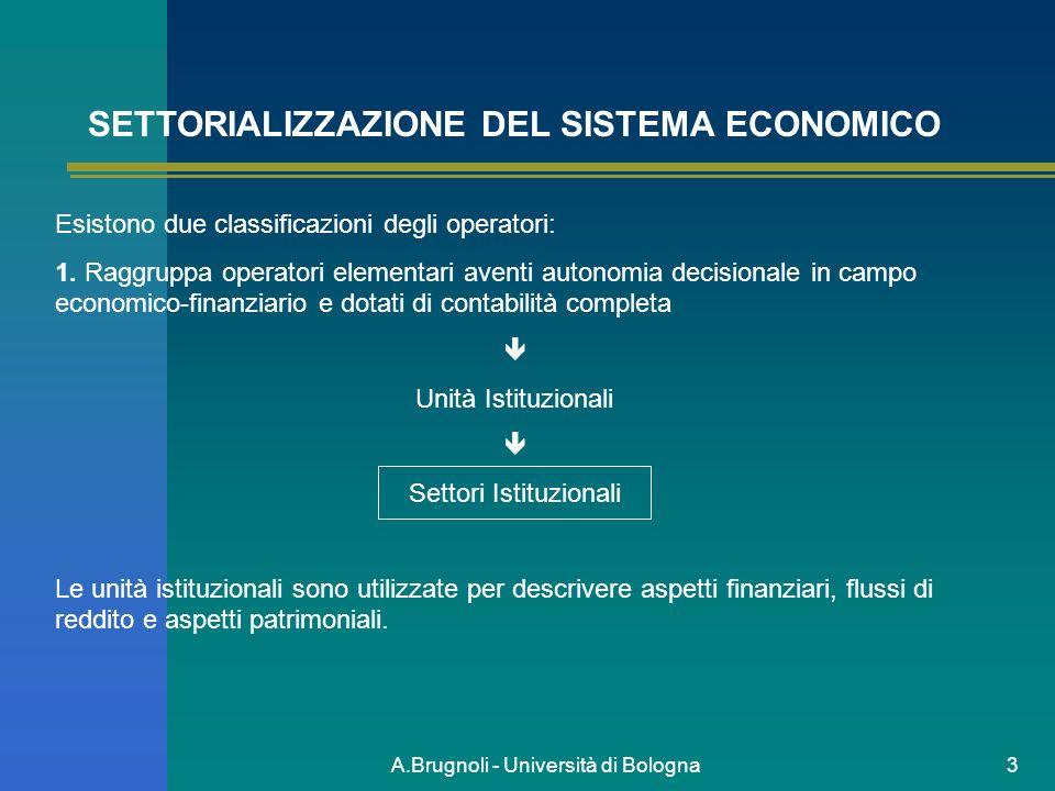 A.Brugnoli - Università di Bologna3 SETTORIALIZZAZIONE DEL SISTEMA ECONOMICO Esistono due classificazioni degli operatori: 1. Raggruppa operatori elem