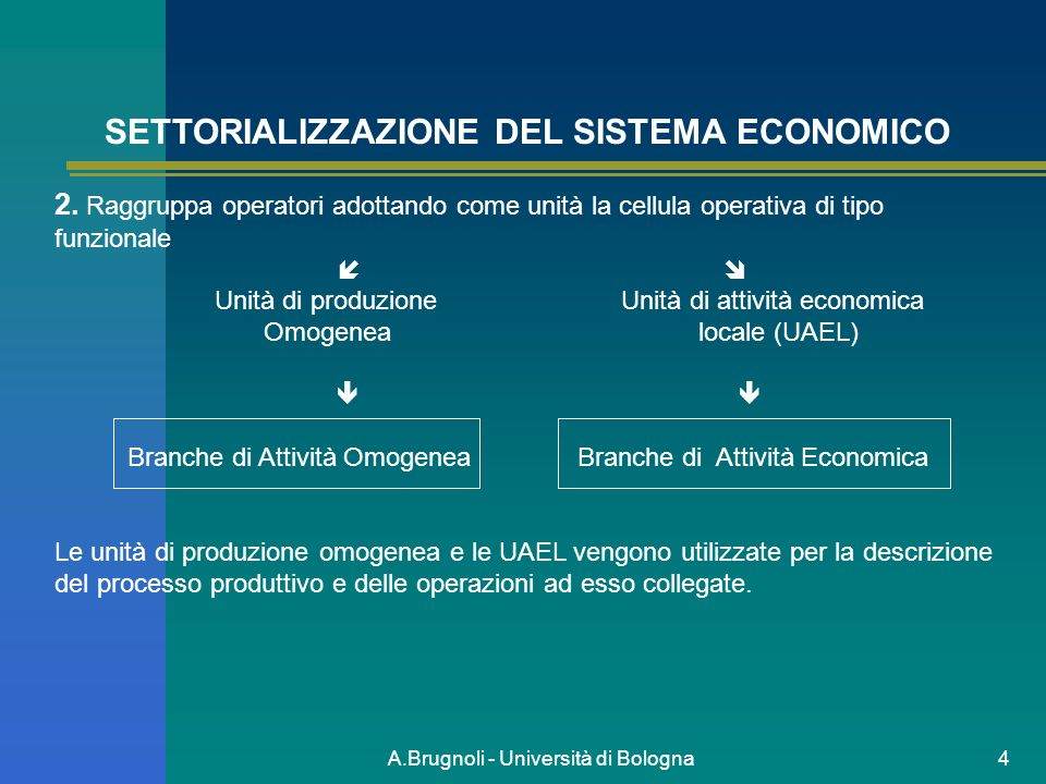 A.Brugnoli - Università di Bologna4 SETTORIALIZZAZIONE DEL SISTEMA ECONOMICO 2. Raggruppa operatori adottando come unità la cellula operativa di tipo