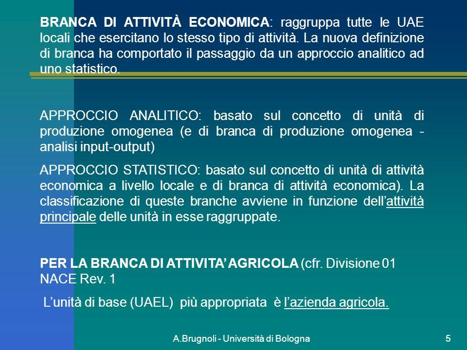 A.Brugnoli - Università di Bologna5 BRANCA DI ATTIVITÀ ECONOMICA: raggruppa tutte le UAE locali che esercitano lo stesso tipo di attività. La nuova de