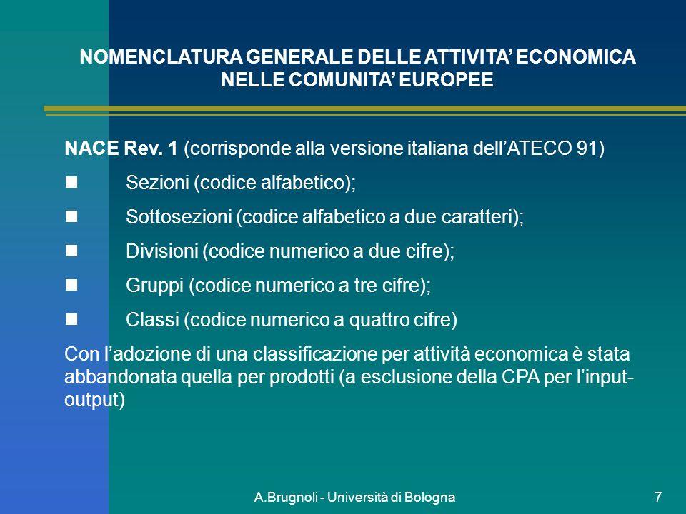 A.Brugnoli - Università di Bologna7 NOMENCLATURA GENERALE DELLE ATTIVITA ECONOMICA NELLE COMUNITA EUROPEE NACE Rev. 1 (corrisponde alla versione itali