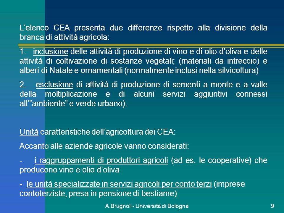 A.Brugnoli - Università di Bologna9 Lelenco CEA presenta due differenze rispetto alla divisione della branca di attività agricola: 1. inclusione delle