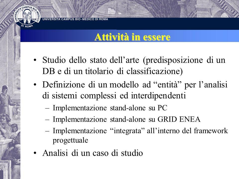 Attività in essere Studio dello stato dellarte (predisposizione di un DB e di un titolario di classificazione) Definizione di un modello ad entità per