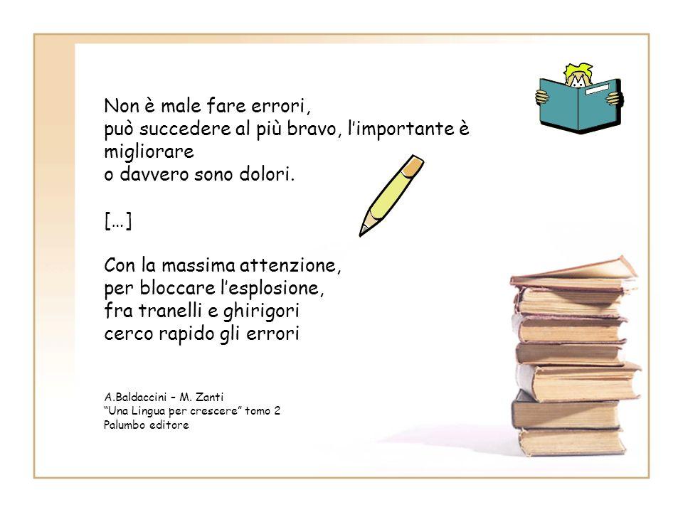 Gli step Step 1: dividiamo il quaderno in due parti (regole/errori) Step 2: analisi degli errori Step 3: identificazione degli errori Step 4: autocorr