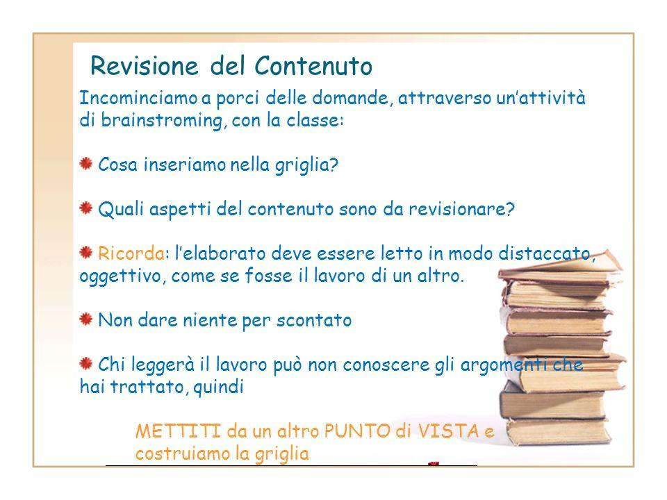 Revisione di una produzione scritta Forma Correttezza ortografica, sintattica, coerenza, coesione, punteggiatura, lessico, registro linguistico Contro