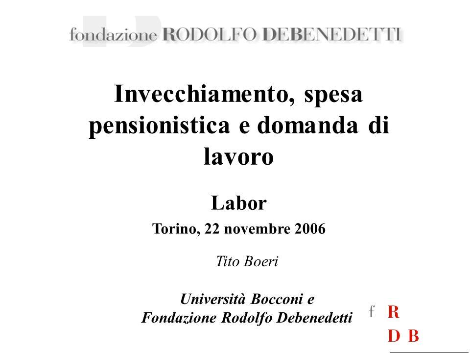 Invecchiamento, spesa pensionistica e domanda di lavoro Tito Boeri Università Bocconi e Fondazione Rodolfo Debenedetti Labor Torino, 22 novembre 2006