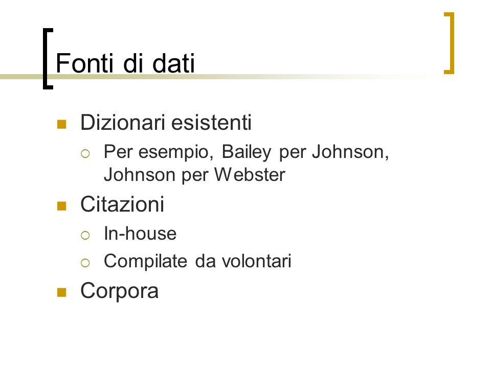 Fonti di dati Dizionari esistenti Per esempio, Bailey per Johnson, Johnson per Webster Citazioni In-house Compilate da volontari Corpora