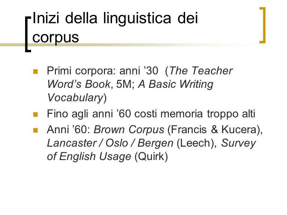 Inizi della linguistica dei corpus Primi corpora: anni 30 (The Teacher Words Book, 5M; A Basic Writing Vocabulary) Fino agli anni 60 costi memoria tro