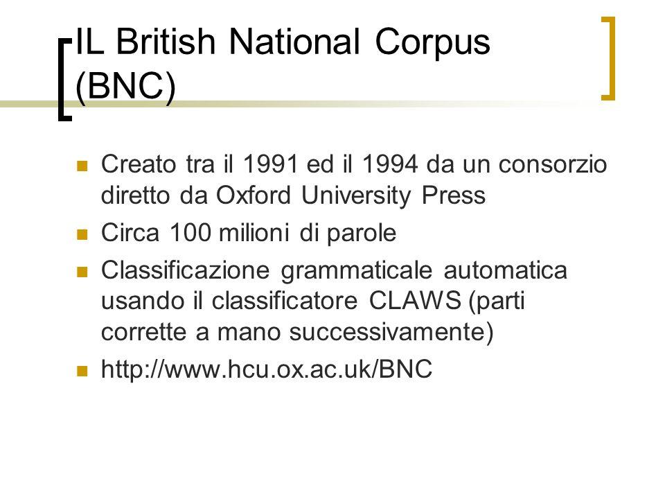 IL British National Corpus (BNC) Creato tra il 1991 ed il 1994 da un consorzio diretto da Oxford University Press Circa 100 milioni di parole Classificazione grammaticale automatica usando il classificatore CLAWS (parti corrette a mano successivamente) http://www.hcu.ox.ac.uk/BNC