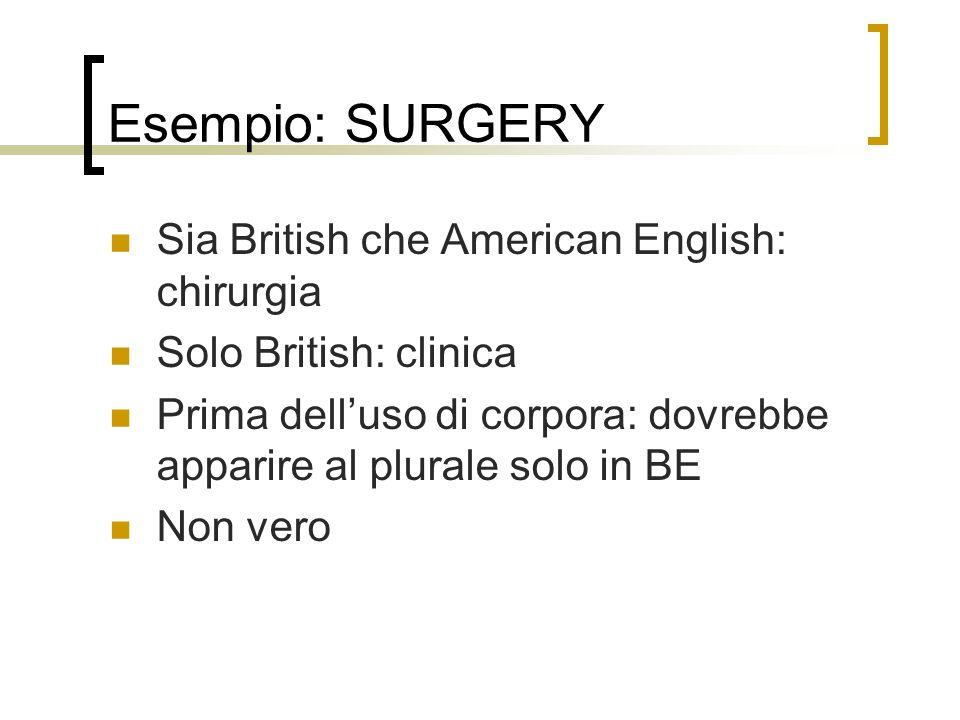 Esempio: SURGERY Sia British che American English: chirurgia Solo British: clinica Prima delluso di corpora: dovrebbe apparire al plurale solo in BE Non vero