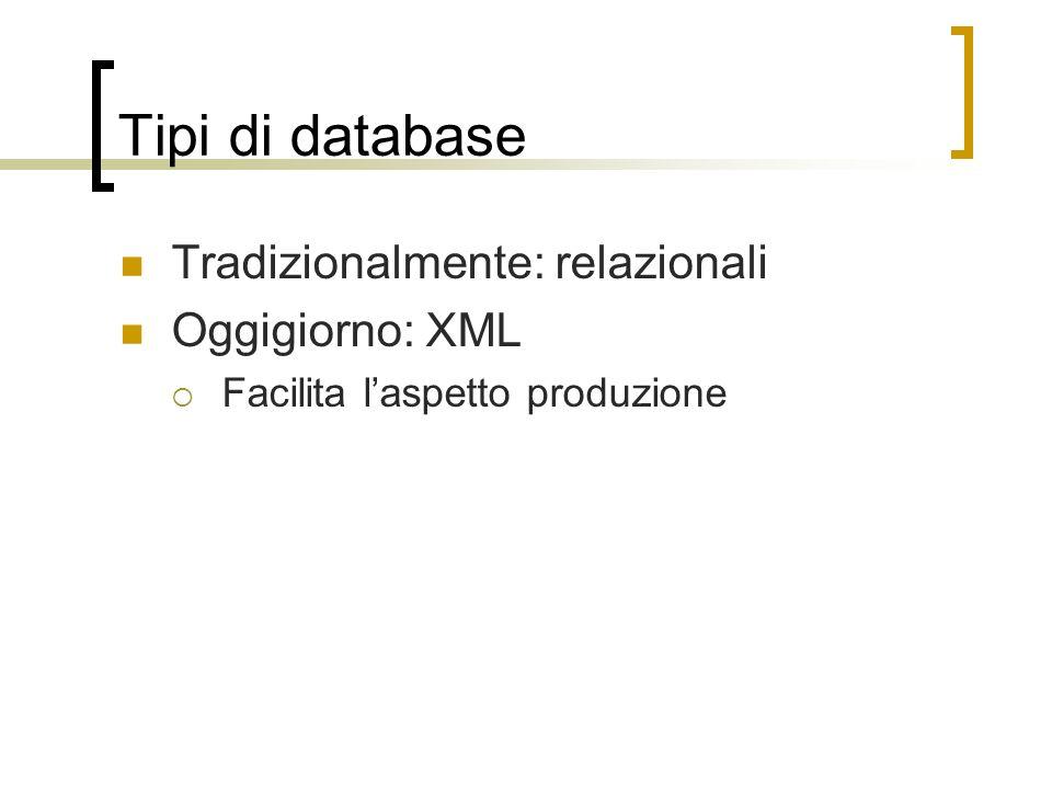 Tipi di database Tradizionalmente: relazionali Oggigiorno: XML Facilita laspetto produzione