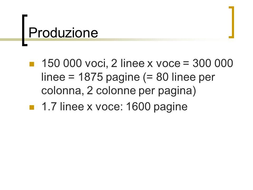 Produzione 150 000 voci, 2 linee x voce = 300 000 linee = 1875 pagine (= 80 linee per colonna, 2 colonne per pagina) 1.7 linee x voce: 1600 pagine