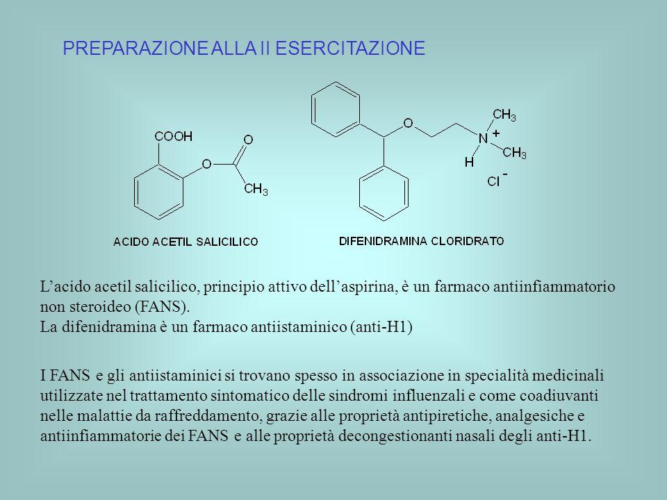 PREPARAZIONE ALLA II ESERCITAZIONE Lacido acetil salicilico, principio attivo dellaspirina, è un farmaco antiinfiammatorio non steroideo (FANS). La di
