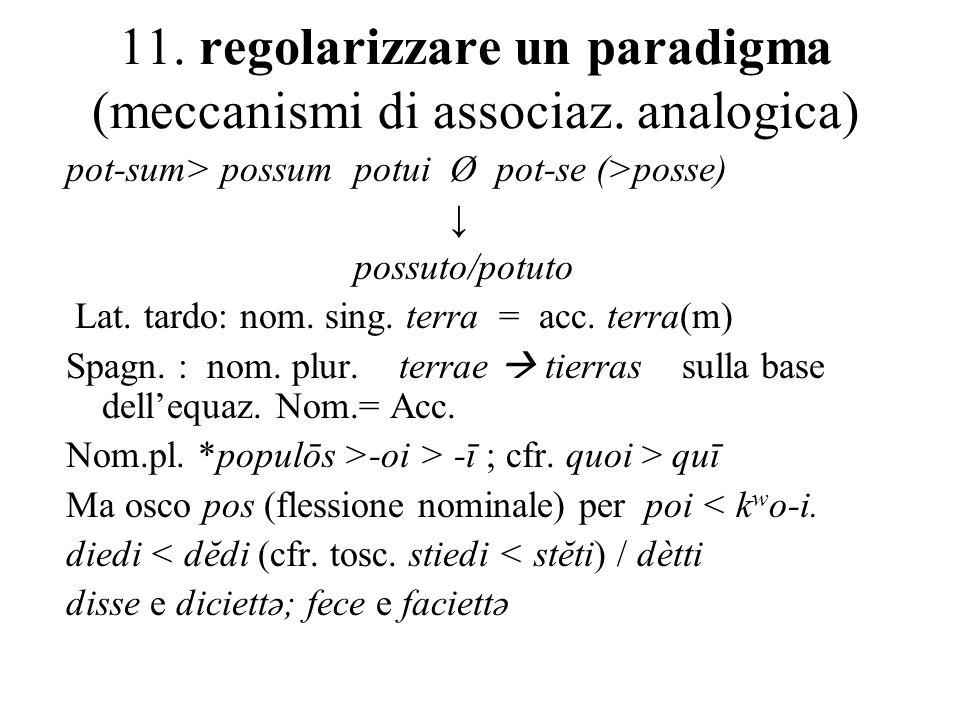 11. regolarizzare un paradigma (meccanismi di associaz. analogica) pot-sum> possum potuiØ pot-se (>posse) possuto/potuto Lat. tardo: nom. sing. terra
