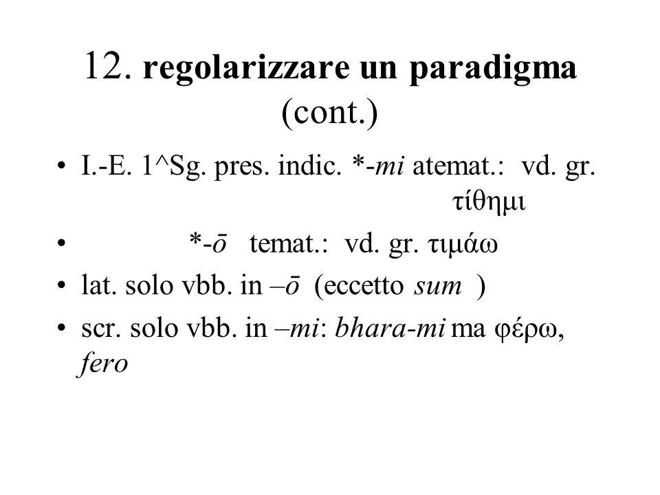 12. regolarizzare un paradigma (cont.) I.-E. 1^Sg. pres. indic. *-mi atemat.: vd. gr. τίθημι *-ō temat.: vd. gr. τιμάω lat. solo vbb. in –ō (eccetto s