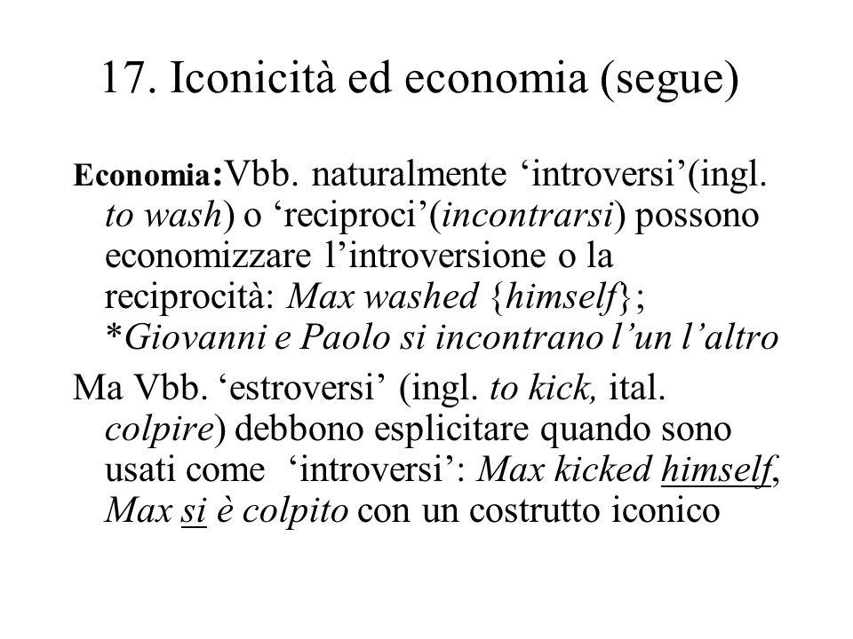 17. Iconicità ed economia (segue) Economia :Vbb. naturalmente introversi(ingl. to wash) o reciproci(incontrarsi) possono economizzare lintroversione o
