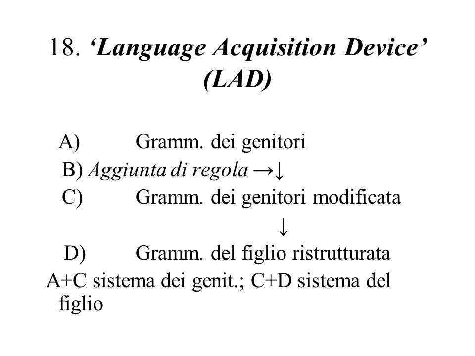 18. Language Acquisition Device (LAD) A)Gramm. dei genitori B) Aggiunta di regola C)Gramm. dei genitori modificata D) Gramm. del figlio ristrutturata