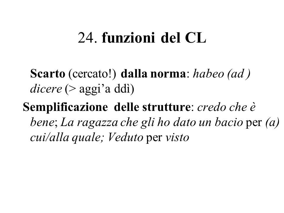24. funzioni del CL Scarto (cercato!) dalla norma: habeo (ad ) dicere (> aggia ddì) Semplificazione delle strutture: credo che è bene; La ragazza che