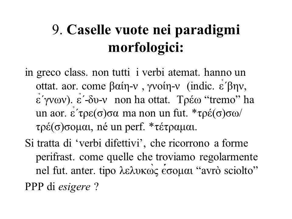 9. Caselle vuote nei paradigmi morfologici: in greco class. non tutti i verbi atemat. hanno un ottat. aor. come βαίη-ν, γνoίη-ν (indic. ε̉΄βην, ε̉΄γνω