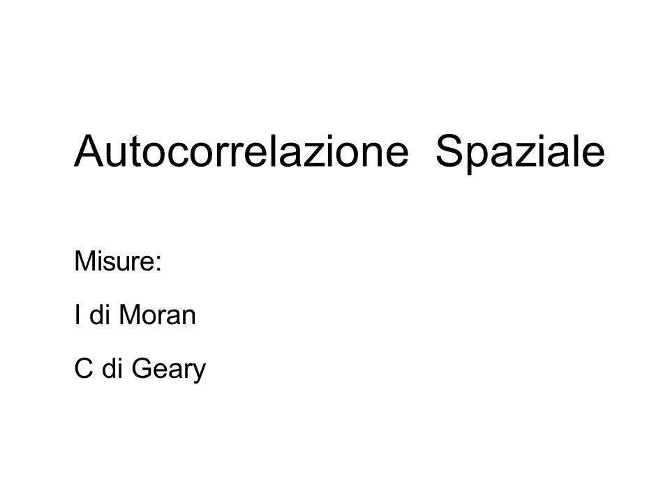 Autocorrelazione Spaziale Misure: I di Moran C di Geary